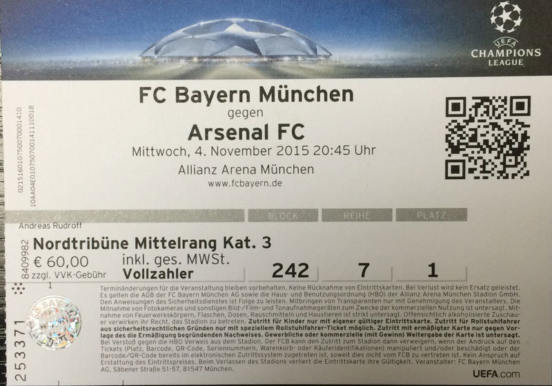 Fc Bayern Arsenal Tickets