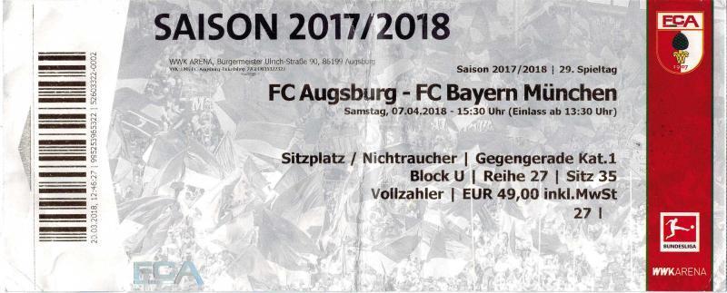 C Augsburg - FC Bayern München am 07.04.2018