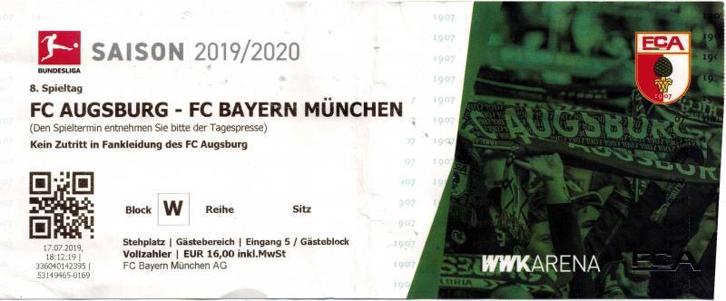 FC Augsburg – FC Bayern München am 19.10.2019